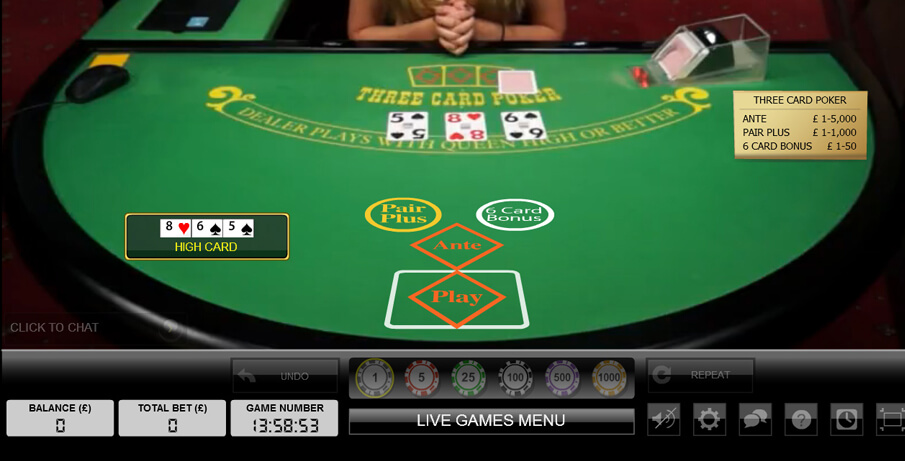 live three card poker tisch