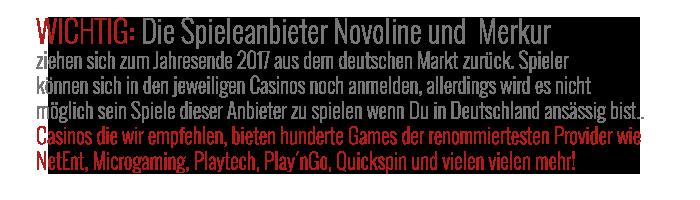 Novoline und Merkur verlassen deutschen markt